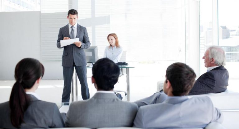 A corporate meeting